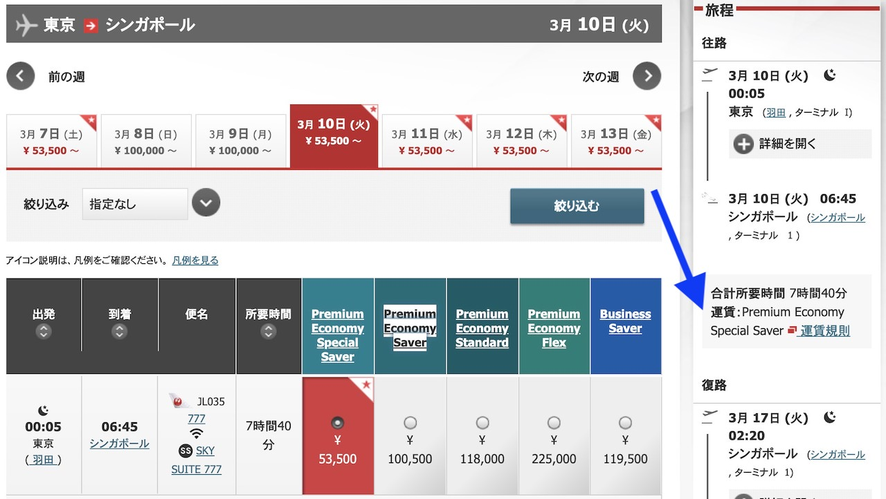 JAL 国際線予約