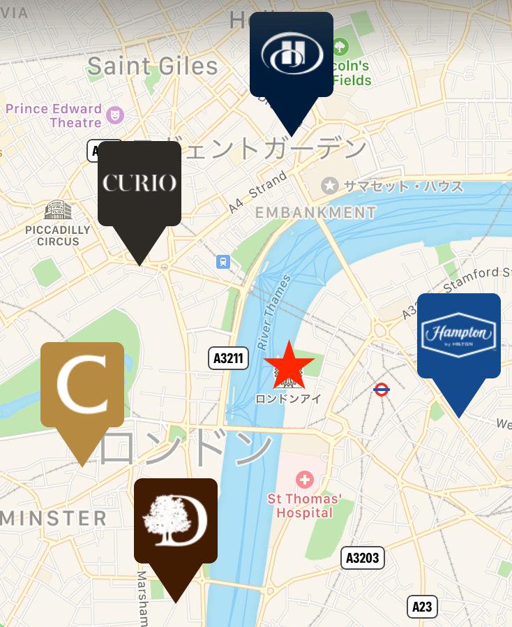 ロンドンアイ周辺のホテル